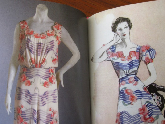 The design sketch, and a variation of the same dress from 1937. Based on the sheet music staff. From The Little Book of Schiaparelli.
