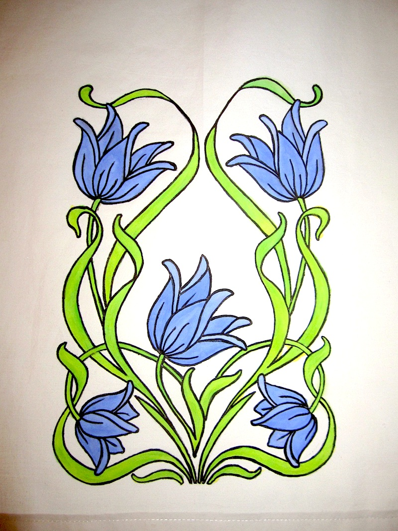 Art Nouveau panel detail. Hand painted over traced outline.