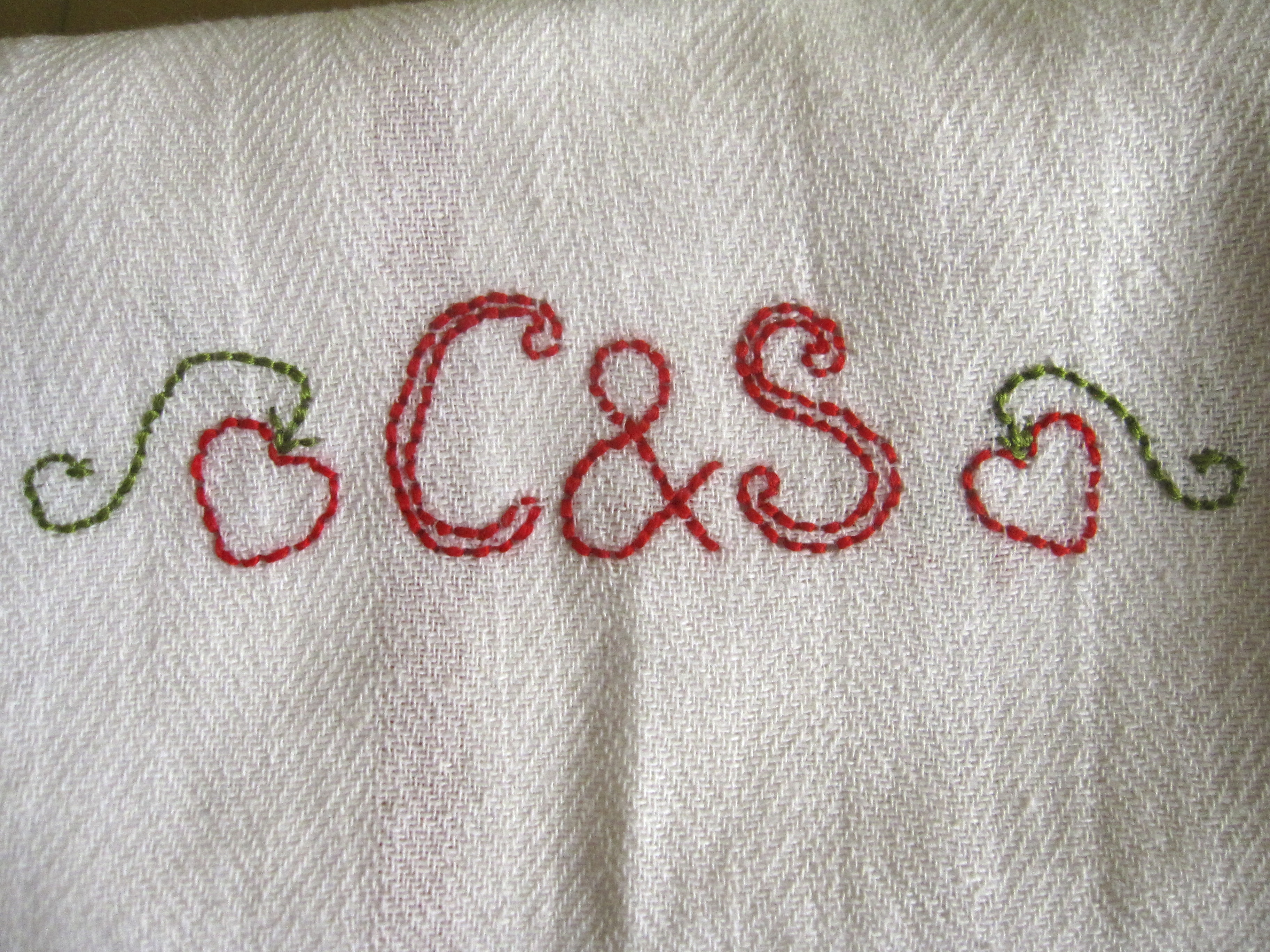 Embroidered tea towel detail