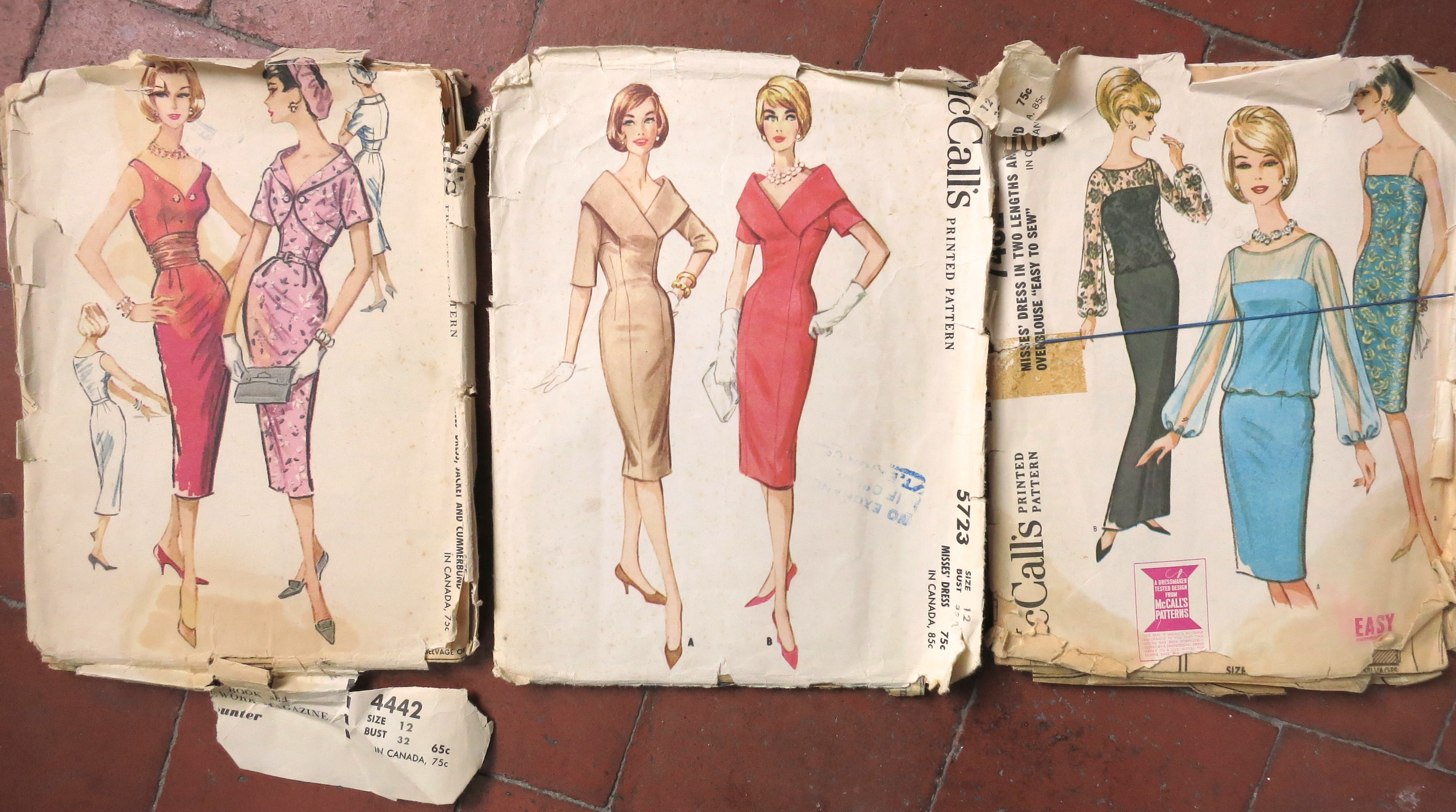 Late 1950s/Early 1960s Dress Patterns: McCall's 4442, 5723 and 7482.