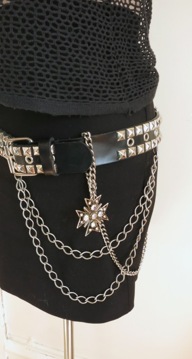 Madonna Ensemble Belt detail. Found chain necklace and rhinestone Maltese cross pendant.