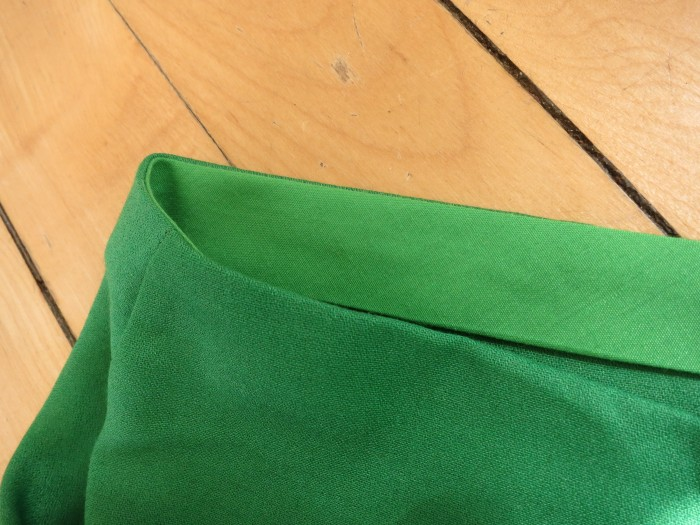 Skirt detail. Bias waist facing.