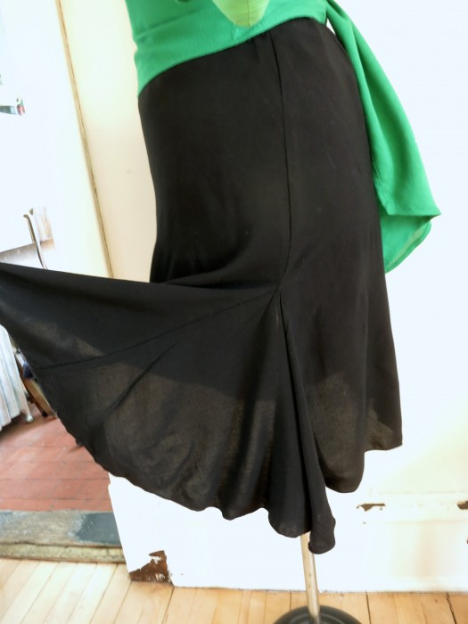 Black rayon swing skirt (self drafted). Half circle godet in side seam.