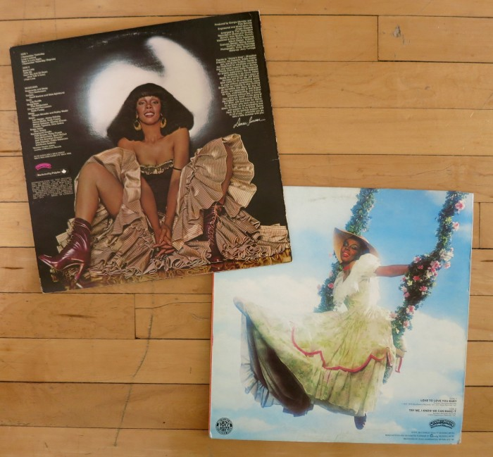 Donna Summer on LP. The back covers are amazing. Those boots!