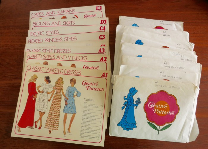 This set was separated at the thrift store but I reunited the booklets and envelopes. 1970s Creative Patterns set.