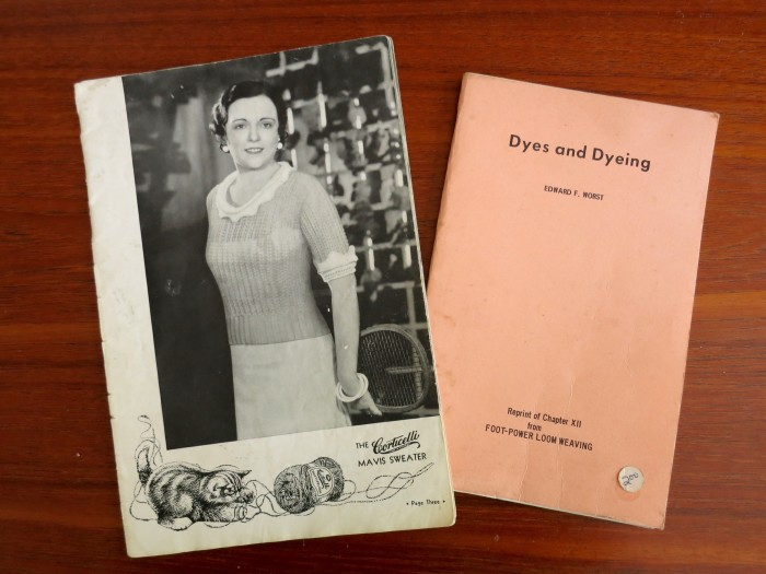 1930s Corticelli knitting pattern book and a 1970 book on natural dyes.