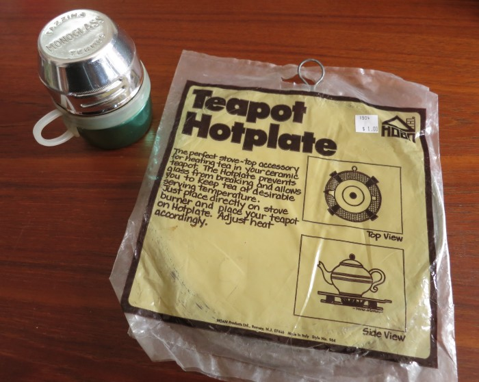 A single serving Thermos cup and Teapot Hotplate
