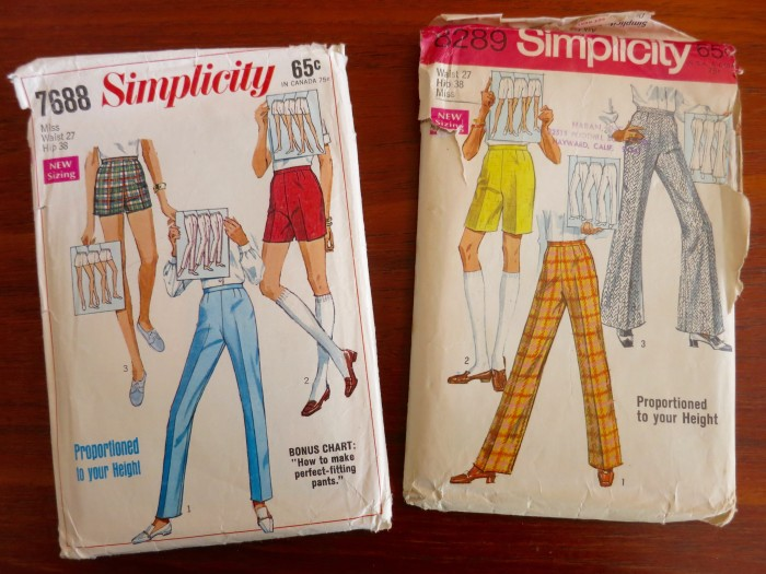 Simplicity 7688 and 8289 Proportioned Pants from 1968 and 1969