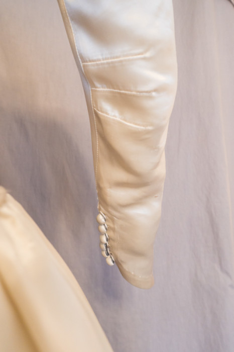 Original 1949 Wedding Gown sleeve with elbow darts