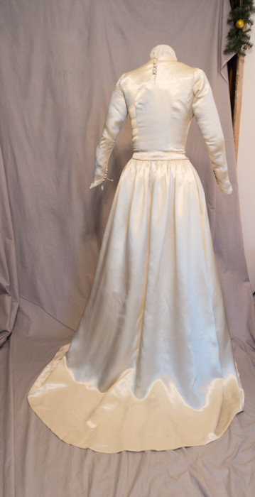 Original 1949 Wedding Gown back with train skirt