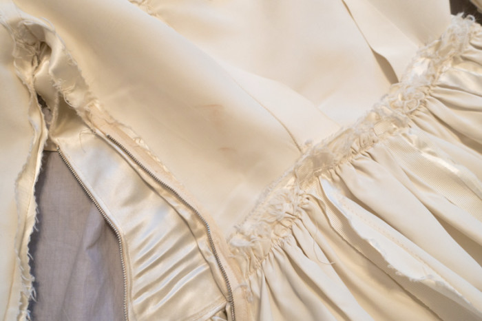 Original 1949 Wedding Gown inside out detail