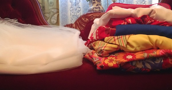 6 massive dresses (Theatre Props) and tulle for the Wedding gown.