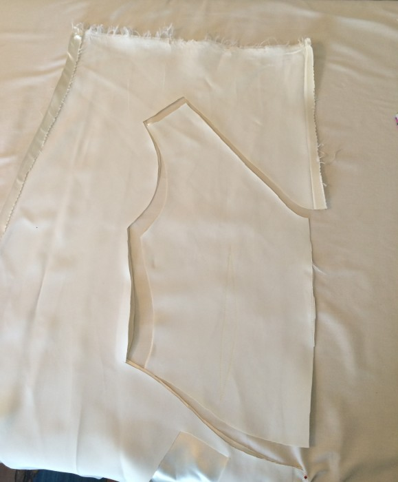 There's no going back now! Cutting out the bodice. HLB 2016