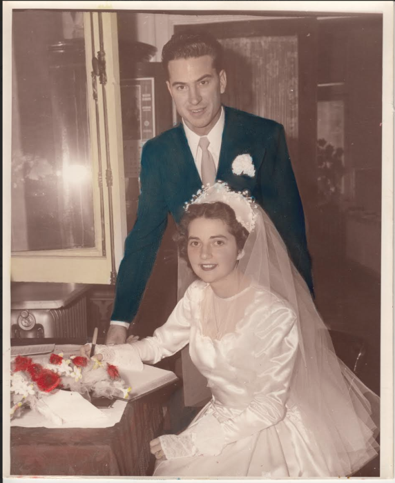 1949 Wedding Couple. The original owner of the dress.