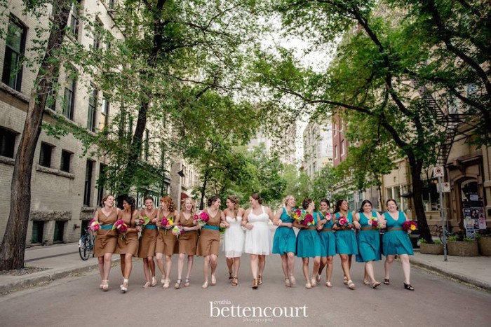 Liz and Jess and their 12 Bridesmaids (in dresses by HLB). 2016