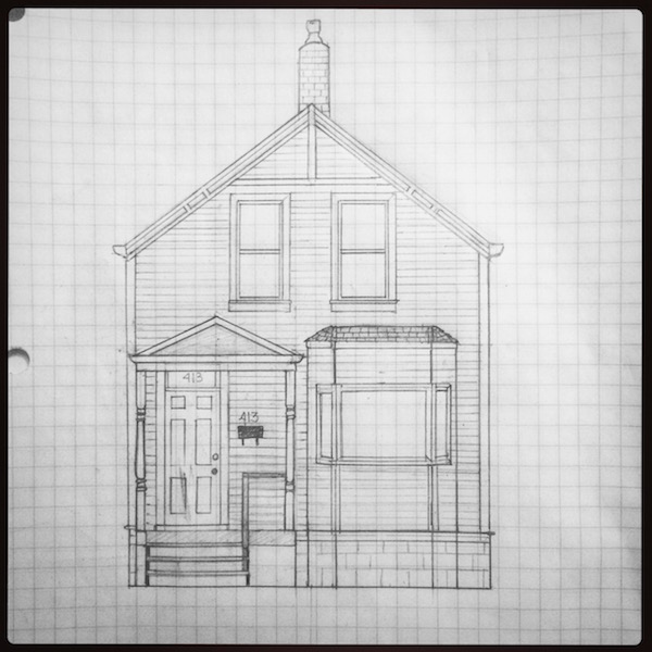 Nerdy scale drawing of Pacific Avenue house showing the architectural details.