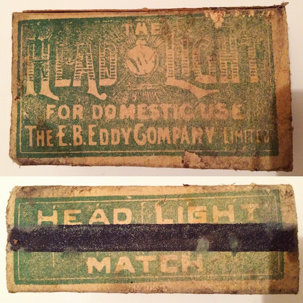Head Light Matchbox surprisingly intact despite mice.