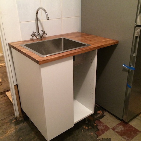 New sink and fridge.