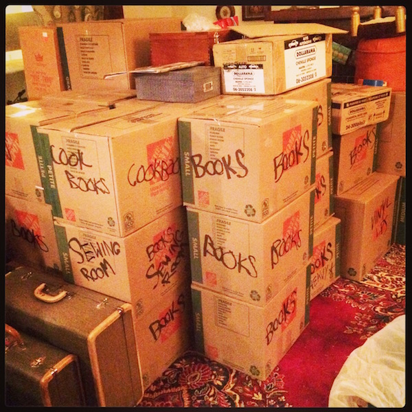 SOME of the many boxes of books. I stopped counting at 50...