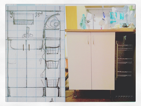 Scale drawing and installed sink cabinet with dish rack under counter.