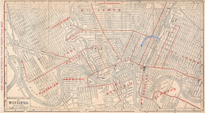 A 1908 map of Winnipeg with an arrow showing Centennial. You can see where the rail line was, in front of our place on Pacific
